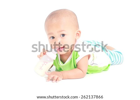 Portrait of a crawling baby isolated white background