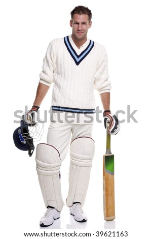 Portrait of a cricket player, studio shot on a white background. - stock photo