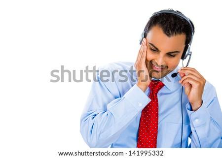 Portrait of a customer representative listening carefully - stock photo