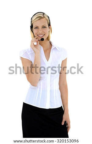 Portrait of a Customer service representative with headset - Three quarter length front view of a standing woman. - stock photo
