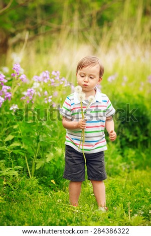 Portrait of a cute adorable little boy toddler standing in the forest field meadow with dandelion flower in his hands and blowing it on a bright summer day, funny card with copy space for text