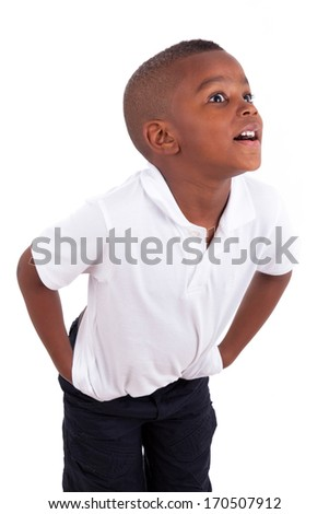 Portrait of a cute african american little boy - Black people , isolated on white background - stock photo