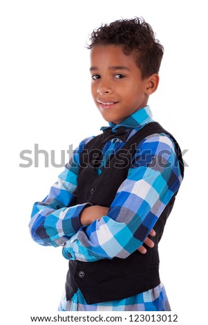 Portrait of a cute african american little boy with folded arms, isolated on white background