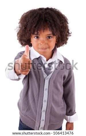 Portrait of a cute african little boy making thumbs up,isolated on white background - stock photo
