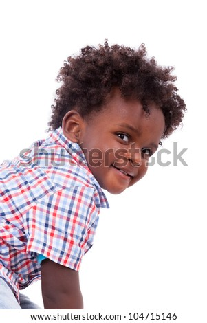 Portrait of a cute black baby boy, isolated on white background - stock photo