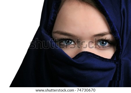Portrait of  a cute blond Scandinavian teenager girl with niqab - stock photo