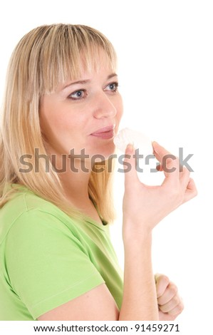 portrait of a cute blonde standing on white - stock photo