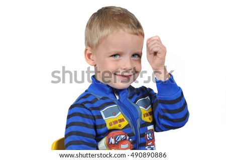 Portrait of a cute boy child on white background