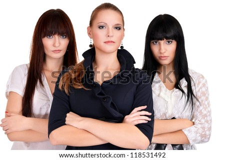portrait of a cute business women posing on a white - stock photo