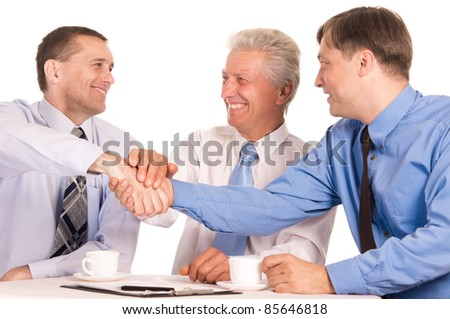 portrait of a cute businessmen at table