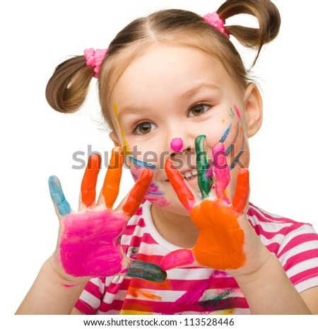 Portrait of a cute cheerful girl with painted hands, isolated over white - stock photo
