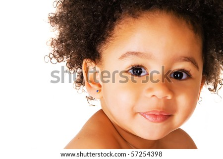 Portrait of a cute child on a white background - stock photo