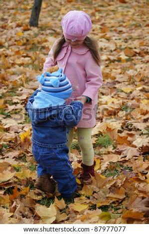 portrait of a cute children at park - stock photo