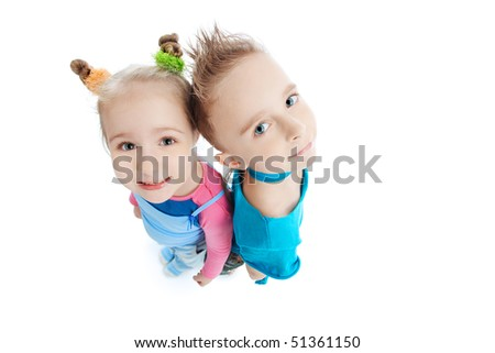 Portrait of a cute children. Isolated over white background. - stock photo