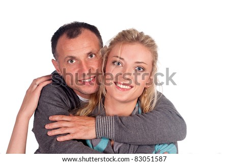 portrait of a cute couple on a white - stock photo