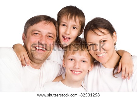 portrait of a cute family of a four