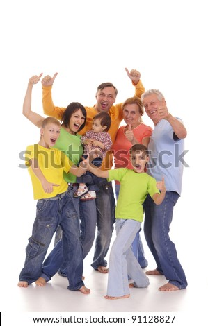 portrait of a cute family on a white - stock photo