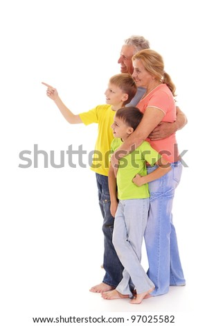 portrait of a cute family on white - stock photo