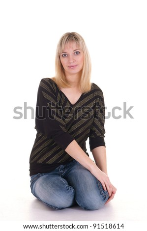 portrait of a cute girl on a white - stock photo