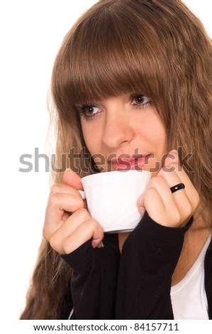 portrait of a cute girl with a cup