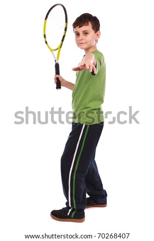 Portrait of a cute kid with tennis racquet isolated on white background - stock photo