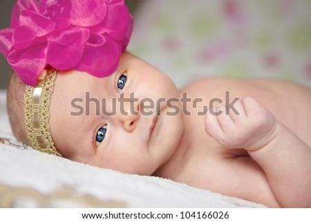 Portrait of a cute little baby girl - stock photo