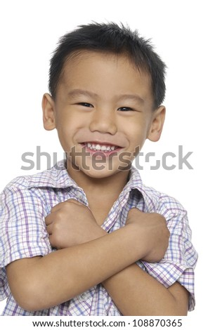 Portrait of a cute little boy on white background