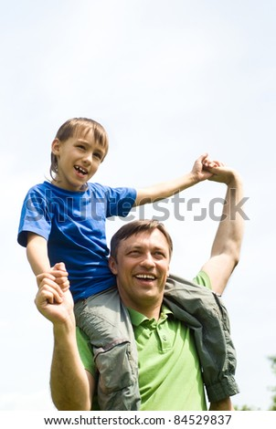 portrait of a cute little boy with dad