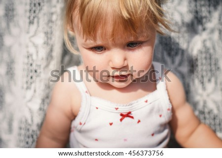 Portrait of a cute little girl. - stock photo