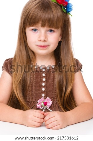 Portrait of a cute little girl, isolated over white - stock photo