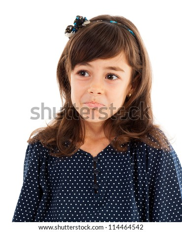 Portrait of a cute little girl with confused expression isolated on white background - stock photo