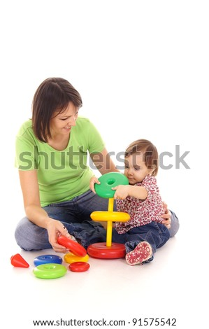 portrait of a cute mom and little daughter - stock photo