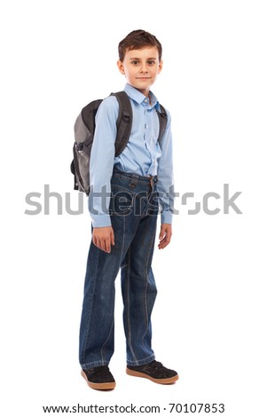 Portrait of a cute schoolboy with backpack, isolated on white background - stock photo