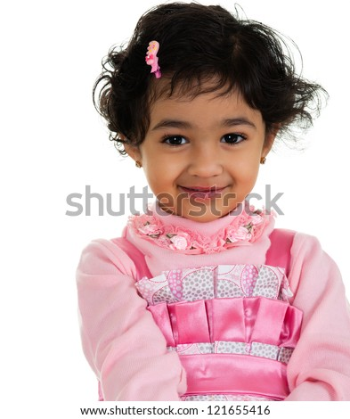 Portrait of a Cute, Shy Toddler Girl, Isolated, White - stock photo