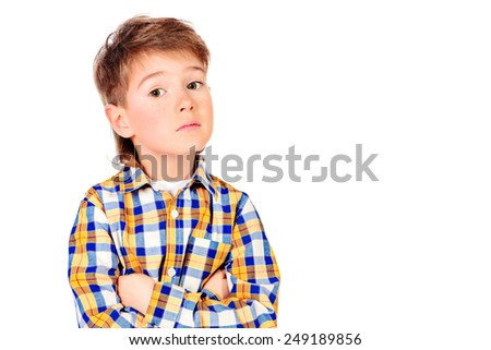 Portrait of a cute smart boy.  Copy space. Isolated over white. - stock photo