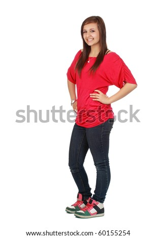 portrait of a cute teen girl, red shirt, white background - stock photo