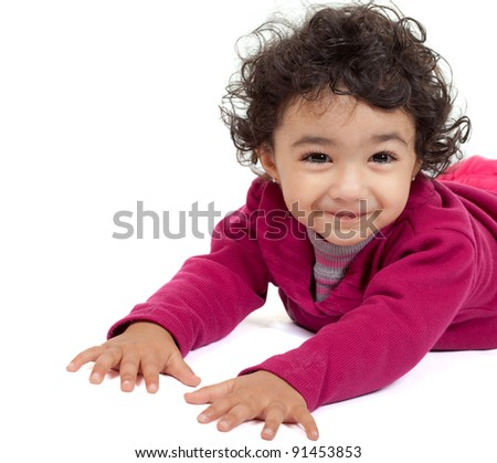 Portrait of a Cute Toddler Girl , On White Background