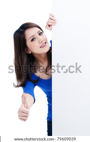 Portrait of a cute woman holding a blank billboard, isolated on white background.