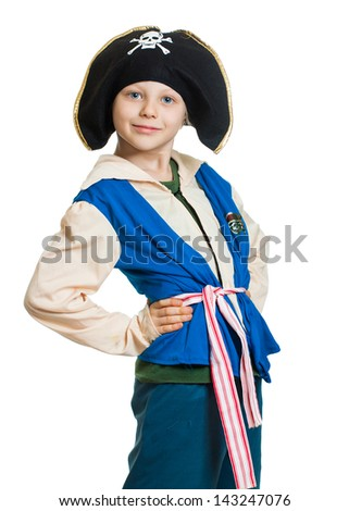 Portrait of a cute young boy dressed as a pirate, Isolated on white.