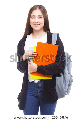 Portrait of a cute young student girl holding colorful notebooks, isolated on white background - stock photo