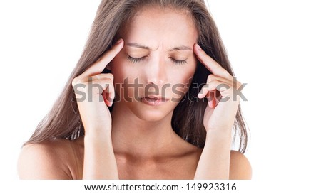 Portrait of a cute young woman thinking about Problem and Touching Head
