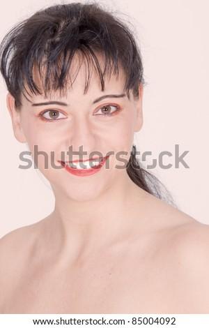 Portrait of a dark-haired beauty /beautiful portrait - stock photo