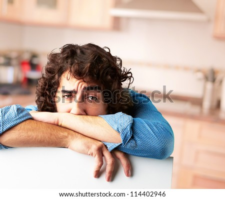 Portrait Of A Depressed Man, Indoor - stock photo