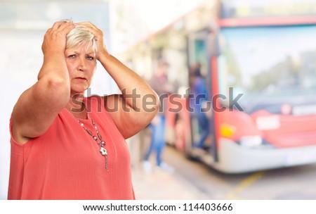 Portrait Of A Depressed Senior Woman, Outdoor - stock photo