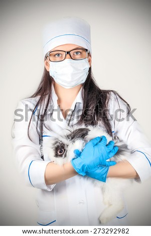 portrait of a doctor with a decorative rabbit in hands - stock photo