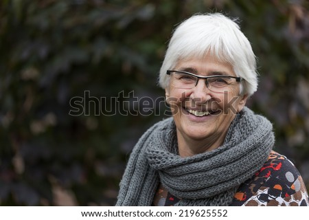Portrait of a Dutch elderly woman - stock photo