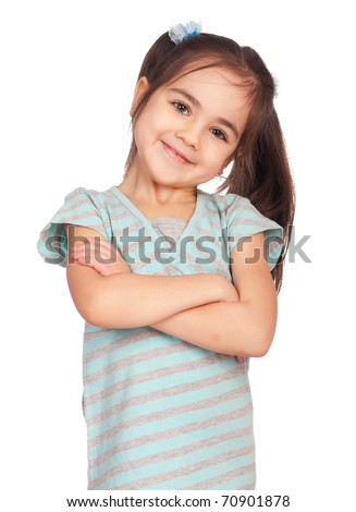 Portrait of a emotional beautiful little girl. Isolated on white background. - stock photo