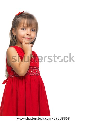 Portrait of a emotional beautiful little girl on white background. - stock photo