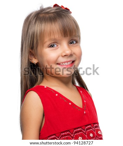 Portrait of a emotional beautiful little girl smiling on white background.