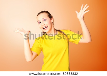 Portrait of a emotional girl teenager. - stock photo